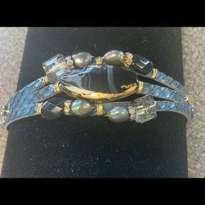Bracelet on Snap Blue Leather Strap